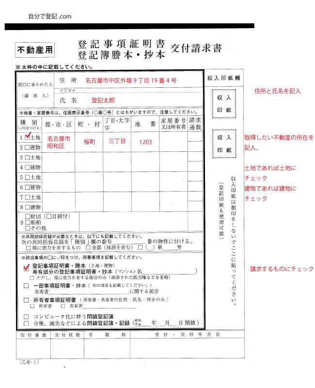 登記事項証明書 交付請求書